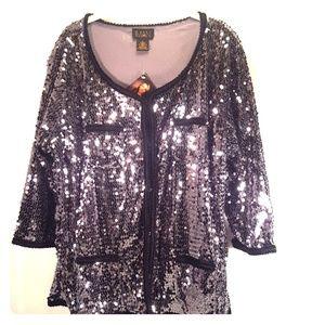 IMAN 2X Shimmering Silver W/Black Trim Jacket